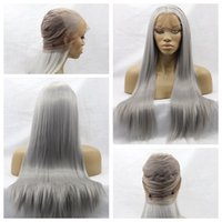 Wholesale Wig Gray Long - Hot Sexy Gray Color Long Silky Straight Full Lace Wigs with Baby Hair Heat Resistant Glueless Synthetic Lace Front Wigs for Black Women