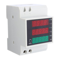 digital meters wholesale-Freeshipping AC 110V 220V DIN RAIL 100A KWH Energy Power Electricity Meter Ammeter Voltmeter Top Quality