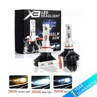 ingrosso h7 led giallo-X3 ZES H4 H7 LED Car Faro Lampadina 3000K / 6500K / 8000K Giallo Bianco Ice Blue Lampada H11 9005 9006 LED DRL Luci per auto