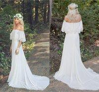 vestido hippie marfil al por mayor-2018 más nuevos vestidos de novia de gasa de encaje de bohemain fuera del tamaño extra grande del tamaño de la playa barata Boho Hippie Ivory personalizada vestidos de novia