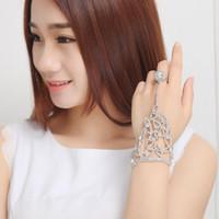 2019 Cheap Elegant Wedding Bridal Party Prom Jewelry Crystal Rhinestones Finger Ring Bracelet Wristband Bracelet Women's gloves
