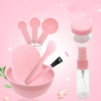 Wholesale diy beauty sponge online - 9PCS Set in Travel Beauty Pink Makeup Tool Set Kit DIY Facial Face Mask Bowl Brushes Measuring Spoon Stick Spray Bottle Seaweed Sponge