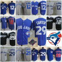 Wholesale men s mesh shorts - Mens #29 Joe Carter 1993 WS Patch jersey Embroidery stitched Royal Blue mesh #12 ROBERTO ALOMAR baseball Jersey S-3XL