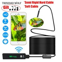 Wholesale borescope iphone - TRINIDAD WOLF Wifi Endoscope 8mm 1200P HD For Iphone Android Soft Semi Rigid Hard Tube Pipe Snake Camera Inspection Borescope