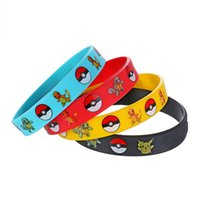 Wholesale cosplay wristband online - Pikachu Silicone Bracelets Pocket Monster Wristband Soft ball Wrist band Straps Figures Kids Toys Kids christmas cosplay Gift best