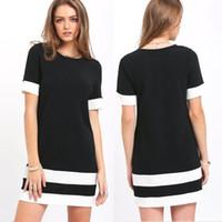 ingrosso abiti scontati europei-2018 Estate nuovo stile europeo Pure Black and White Stripes T-shirt Dress Dress Discount