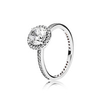 кольца для серебра оптовых-Настоящее 925 стерлингового серебра CZ бриллиантовое кольцо с логотипом и оригинальной коробке подходят Пандора стиль обручальное кольцо обручальные украшения для женщин