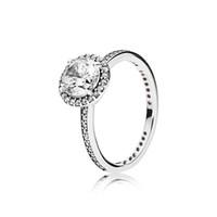 echter schmuck großhandel-Echt 925 Sterling Silber CZ Diamant RING mit LOGO und Original Box Fit Pandora Stil Ehering Engagement Schmuck für Frauen