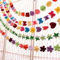 Wholesale Hanging Paper Flower - Paper Banner Festival Decoration Furnish Room Supplies Flowers Handmade Children Room Colorful Wall Hanging Garland Hot Sale 2 85sz X