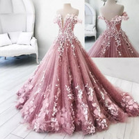 Wholesale water melon flowers ruffles quinceanera online - Beautiful Butterfly Flowers Appliques Ball Gown Masquerade Quinceanera Dresses Off Shoulder Backless Sweet Pageant Gowns BA8018