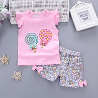 Wholesale Baby Tracksuits - Baby Girls Clothing Outfits Sets Fashion Brand Summer Newborn Infant Baby Girls Clothes Casual Sports Brand Printed Tracksuits