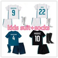 Wholesale Boys Suit Shorts - top Real madrid Kids soccer Jersey suit+socks 17 18 top quality RONALDO BENZEMA ISCO BALE SERGIO RAMOS Football shirtzema Ronaldo Mo