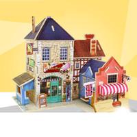 holzspielzeug modell häuser groihandel-Modellbau Kits Block Bricks Spielzeug 3D Holz Puzzle DIY Modell Kinder Spielzeug Welt Haus Puzzle Holz 3D Puzzle Spielzeug für Kinder