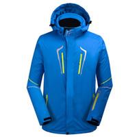 combinaison de ski verte achat en gros de-Vêtements de ski en plein air pour hommes fluorescents noir / bleu / vert imperméable et coupe-vent 10000 veste de ski hiver combinaison de couleur unie chaude