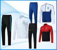 Wholesale Suit Coats - Full Zipper 2017 2018 Ajax Jacket Tracksuit 17 18 Real Madrid AC Milan dybala ronaldo Soccer Football Tops Coat Pant Men Training Suit