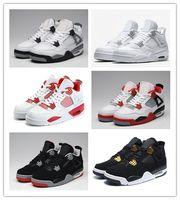 tamanho do dinheiro venda por atacado-Nike Air Jordan Retro Shoes 2018 Alta Qualidade 4 4s Cimento Puro Basquete Sapatos Dinheiro Das Mulheres Dos Homens Bred Royalty Jogo Real Tênis Esportivos Sapatos tamanho 36-47