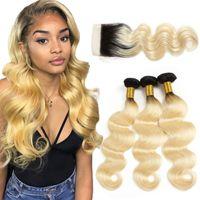 blonde ombre cheveux vierges achat en gros de-Corps péruvien Ombre 613 Cheveux blonds Fermeture de lacet Faisceaux de cheveux humains avec dentelle Fermeture vague de corps Vierge extension de cheveux humains