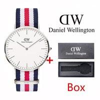 relógio de marca prata venda por atacado-Prata daniel wellington Impermeável Fino Clássico Da Marca de Moda 40mm dos homens 36mm das Mulheres Nylon Cor Correia de Relógio de Quartzo relógio