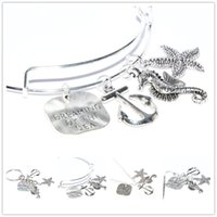 rüya gören deniz toptan satış-12 adet / grup Deniz Dreaming Charm kolye Okyanus Anahtarlık gümüş ton Charm imi anahtarlık