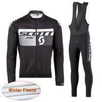 Wholesale scott long sleeve bike - 2018 SCOTT cycling clothes winter thermal fleece long sleeve men cycling jersey suit mountain bike clothing mtb bicycle sportswear E0701