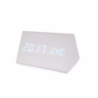 Wholesale triangle clocks for sale - Group buy MUKTIN Wooden Bamboo LED Clock Electronic Alarm Clock Calendar Temperature Voice Control Luminous Mute Highlight For Student OL