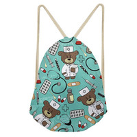 bolsa de hombro al por mayor-Noisydesigns Cute School Girls Drawstring Bag Cartoon Nurse Bear Print Mujeres Small String Shoulder Bags Kids Nursing Bag de almacenamiento