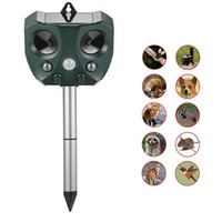 Wholesale ultrasonic mole - Repellent Cats, Dogs, Squirrels, Moles, Rats etc Waterproof Solar Powered-Motion Activated Animal Repeller echargeable Ultrasonic Repeller