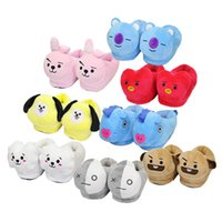 Wholesale cute anime slippers for sale - anime plush slippers animal cute stereo thick cotton shoes home warm shoes