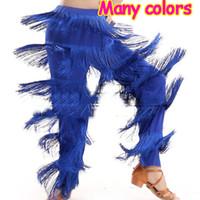 calças de dança latinas venda por atacado-Chegada nova Barato Mulheres Senhoras Meninas Fringe Calças de Dança Latina Jazz Samba Fringe Dance Pants