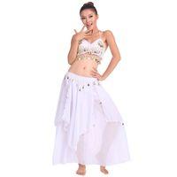 beyaz etek takımları toptan satış-Oryantal Dans Sahne Performansı Oryantal Oryantal Dans Giysileri 2 adet Takım Üst Gömlek + Etek Dans Kostüm Set Beyaz