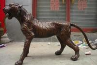 statuen tiger großhandel-China Seltene riesige rote Bronze schnitzen heftige sibirische Tiger Animal Statue