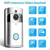 görme kontrolü toptan satış-Görüntülü Interkom Kablosuz WiFi Video Kapı Zili Kamera IP 720 P Iki Yönlü Ses Kızılötesi Gece Görüş APP Smartphone Üzerinden Kontrol