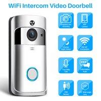 görme kontrolü toptan satış-Video Interkom Kablosuz WiFi Video Kapı Zili Kamera IP 720 P Smartphone Üzerinden İki Yönlü Ses Kızılötesi Gece Görüş APP Kontrolü