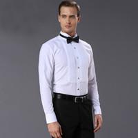 Wholesale finish french - french style Mens Shirts quality Fashion white Men dress shirt Tuxedo Clothing wash and wear finishing shirt men for wedding