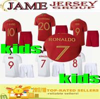 Wholesale Best New Homes - Best Quality new 2018 kids Soccer Jersey Set Home red Away white RONALDO J.MOUTINHO QUARESMA J.MARIO children Home Football kits