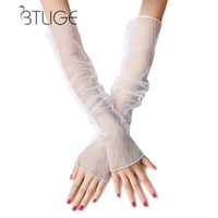 модные рукавицы с длинными рукавами оптовых-Arm Warmers Women Sunscreen Anti UV Extra Long Lace Arm Warmers Fashion Multi-function High Quality Fingerless Gloves Sleeve