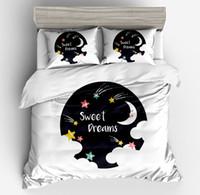 star moon bettwäsche gesetzt großhandel-2018 neue 3d frische modische weiße schöne Sterne Mond Universum Bettwäsche-Sets Mädchen Bettbezug Pollow Fall 3pc Twin voller Queen-Size