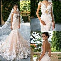 свадебное платье цветочное плюс размер оптовых-Sexy Backless Mid East Качество Русалка Свадебное Платье Цветочные Аппликации Плюс Размер Шампанское Вышивка Свадебное Платье Невесты Платье