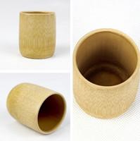 ingrosso birra di bambù-Tazze di latte di birra di stile giapponese della tazza di tè di bambù naturale fatto a mano con l'artigianato verde ecologico di viaggio della maniglia T2I230