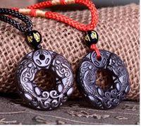 colgante de dragón de piedra negro al por mayor-Envío gratis Natural Obsidian Black lucky colgante dragón chino Pixiu A13 piedra