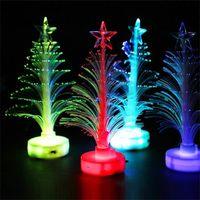 Wholesale mini plastic trees resale online - LED Luminescence Optical Fiber Tree Colorful Light Creative Mini Simulation Trees For Christmas Unique Decoration Tool rl Z