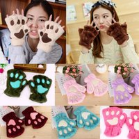 Wholesale gloves cat cosplay online - Women girl children winter fluffy plush Gloves Mittens Halloween Christmas stage perform prop Cosplay cat bear Paw Claw Glove party favors