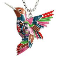 кулоны колибри оптовых-Женские Колибри ожерелья подвески уникальный красочные птица очарование ювелирные изделия подарки могут быть использованы в качестве брелка автомобиля