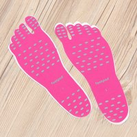 Wholesale thermal soles online - Beach Invisible Stickup Foot Insole Waterproof Protective Socks Pad Thermal Insulation Anti slip Nakefit Stick on Soles Foot Pad Insole