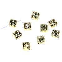 antike quadratische anhänger groihandel-20pcs / lot quadratische Distanzscheibe Korne antik tibetische Goldfarbe quadratische Metall Distanzscheibe Korne Charme Anhänger 6.5mm