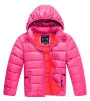 Wholesale hot girls s online - Winter Ski Warm brand Kids Cotton Down Jackets Coats Fashion Hot Sale Hoodies Children s Boys Girl Jacket Blue Pink Size S XXL