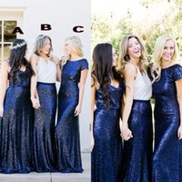Wholesale Wedding Dresses Pick Up Style - Navy Blue Sequins Bridesmaid Dresses Country Style Mixed Order Custom Made Beach Wedding Party Guest Gown Junior Maid of Honor Dress Cheap