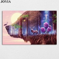 Wholesale fantastic paintings - Fairy Forest Wall Picture Fantastic Wildlife Poster Prints The Wall Decor Bear, Deer, Pink Tree, Owl, Canvas Art