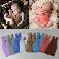ingrosso fotografia di mohair del bambino-New Baby Photography Puntelli Abbigliamento Newborn Mohair Knitting Jumpsuit Molto morbido e comodo per abiti da foto