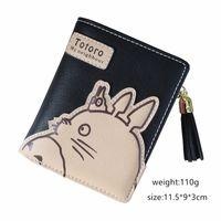Wholesale Totoro Girl - tassel cartoon totoro women wallet anime pu leather girl mini short walelt coin purse female card holder cute girl wallet bag